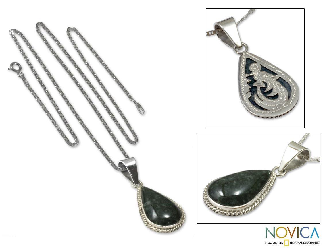 Sterling Silver 'Dark Green Sacred Quetzal' Jade Necklace (Guatemala)