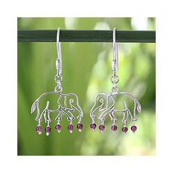 Sterling Silver 'Elephant Glitz' Garnet Dangle Earrings (Thailand)