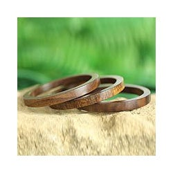 Set of 3 Seesham Wood 'Forest Dancer' Bangle Bracelets (India)
