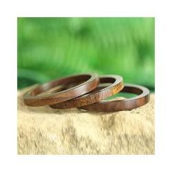 Set of 3 Seesham Wood 'Forest Dancer' Bangle Bracelets (India)