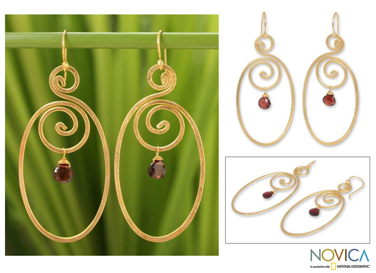 Gold Overlay 'Sensuality' Garnet Dangle Earrings (Thailand)