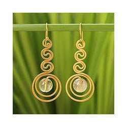 Gold Overlay 'Graceful' Rutile Quartz Dangle Earrings (Thailand)