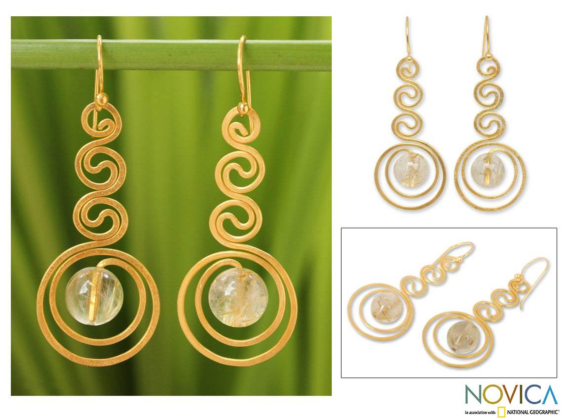 Gold Overlay 'Graceful' Rutile Quartz Dangle Earrings (Thailand)