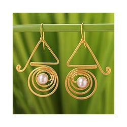 Gold Overlay 'Traveler' Pearl Dangle Earrings (7.5-8 mm) (Thailand)