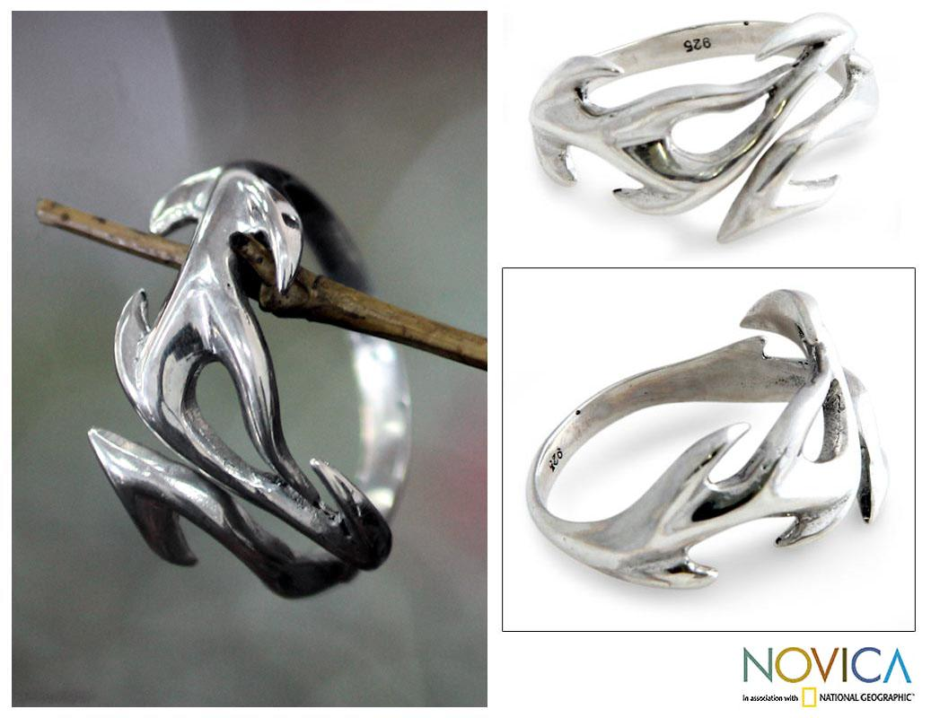 Sterling Silver Men's 'Ride the Surf' Ring (Indonesia)