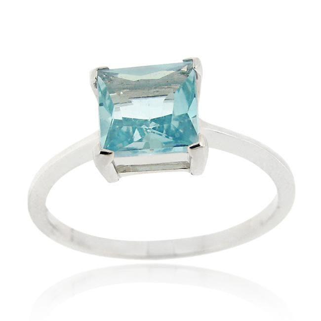 Glitzy Rocks Sterling Silver 2 1/7ct TGW Blue Topaz Square Solitaire Ring