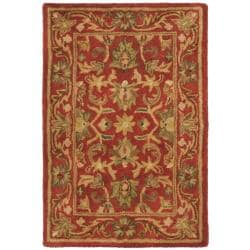 Handmade Heirloom Red Wool Rug (2' x 3')