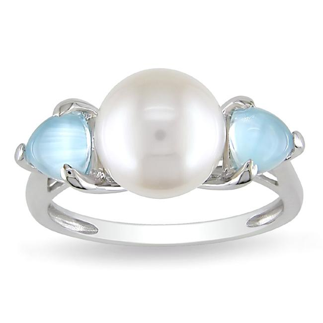 Miadora Sterling Silver FW Pearl and Created Blue Topaz Ring (9-9.5 mm)