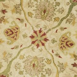 Handmade Mahal Oriental Ivory Wool Rug (8' Round)