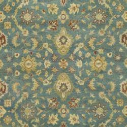 Handmade Jaipur Blue/ Beige Wool Rug (6' x 9')