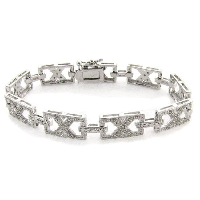 Eziba Collection Sterling Silver 1/2ct TDW Diamond Framed 'X' Link Bracelet (I-J, I2-I3) at mygofer.com