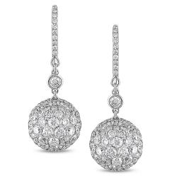 18k White Gold 8ct TDW Pave Diamond Ball Earrings (G-H, SI1-SI2)