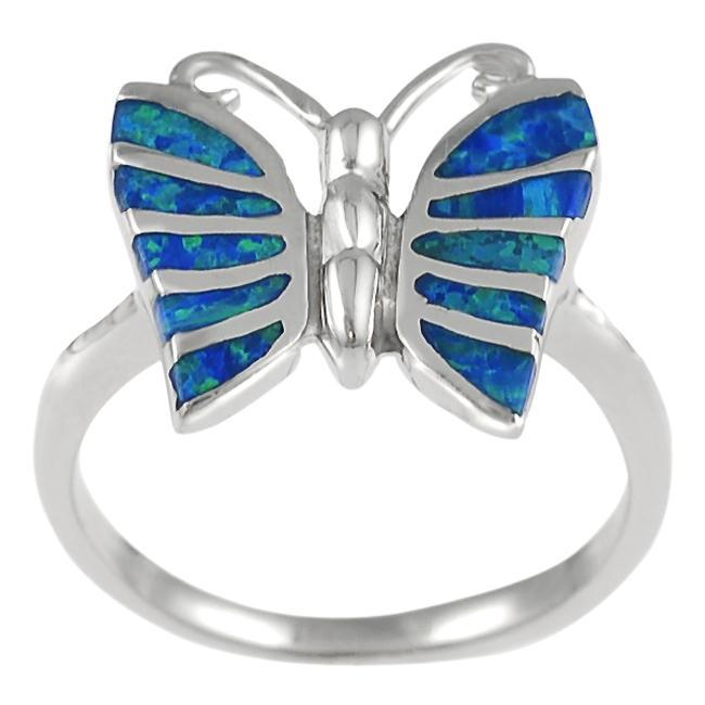 Journee Sterling Silver Blue Opal Butterfly Ring