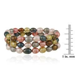 Glitzy Rocks Multi-colored FW Pearl 3-row Stretch Bracelet (7-9 mm)