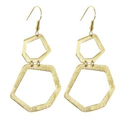 Adee Waiss Gold Overlay Geometric Dangle Earrings