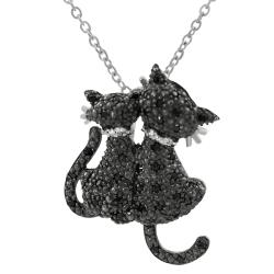 Tressa Sterling Silver Cubic Zirconia Two Black Cats Necklace