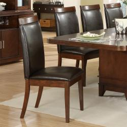 Lancaster Dark Brown Faux Leather Upholstered Dining Chair (Set of 2)