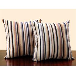 ETHAN HOME Stripe Print 18-inch Throw Pillows (Set of 2)