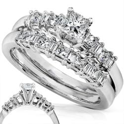 14k White Gold 3/4ct TDW Baguette Mixed Cut Diamond Bridal Set (H-I, I1-I2)