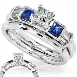 14k Gold 1/2ct TDW Diamond and Sapphire Bridal Ring Set (H-I, I1-I2)