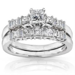 14k White Gold 3/4ct TDW Baguette Mixed Cut Diamond Bridal Set (H-I, I1-I2)