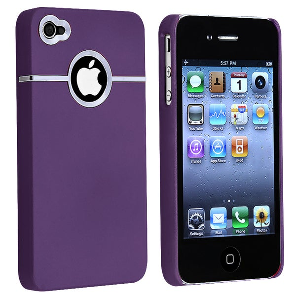 INSTEN Dark Purple/ Chrome Hole Rear Snap-on Phone Case Cover for Apple iPhone 4/ 4S