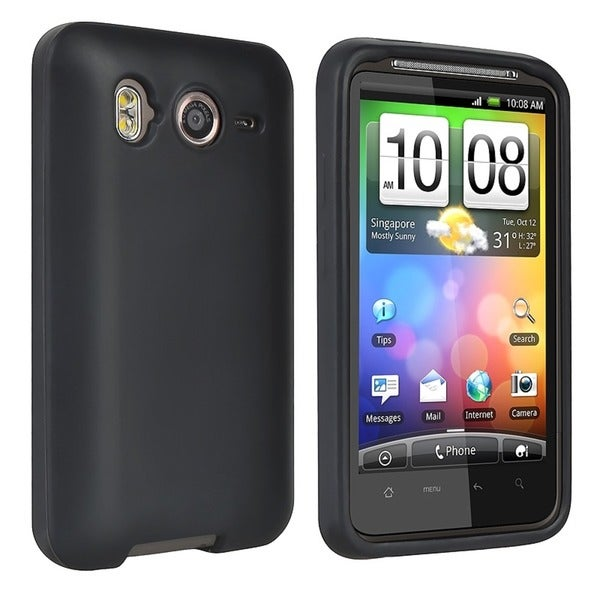 INSTEN Black Soft Silicone Skin Phone Case Cover for HTC Inspire 4G/ Desire HD