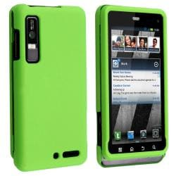 Green Snap-on Rubber Coated Case for Motorola Droid 3 XT862