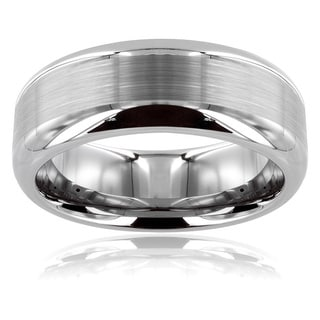 Men's Tungsten Carbide Scratch-Resistant Matte Finish Center Ring (8 mm)