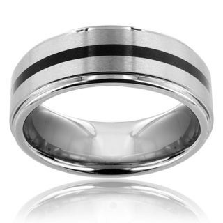 Men's Tungsten Carbide Black Center Line Ring (8 mm)