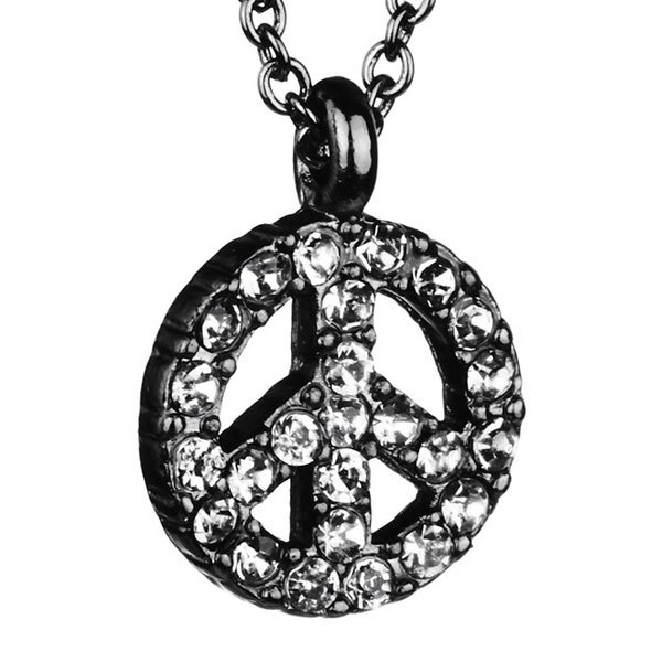 Black-plated Clear Crystal Peace Charm Necklace