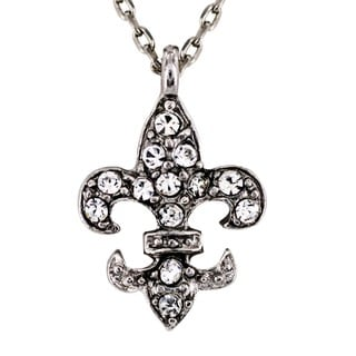 West Coast Jewelry Silvertone Clear Crystal Fleur de Lis Charm Necklace