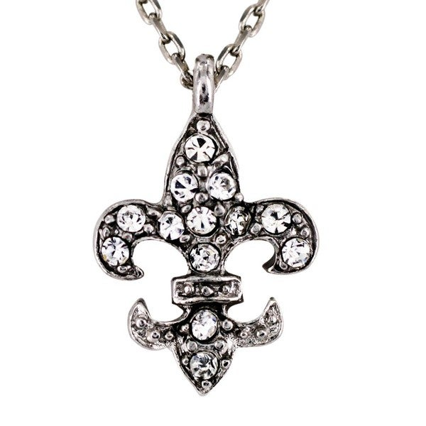 West Coast Jewelry Silvertone Clear Crystal Fleur de Lis Charm Necklace