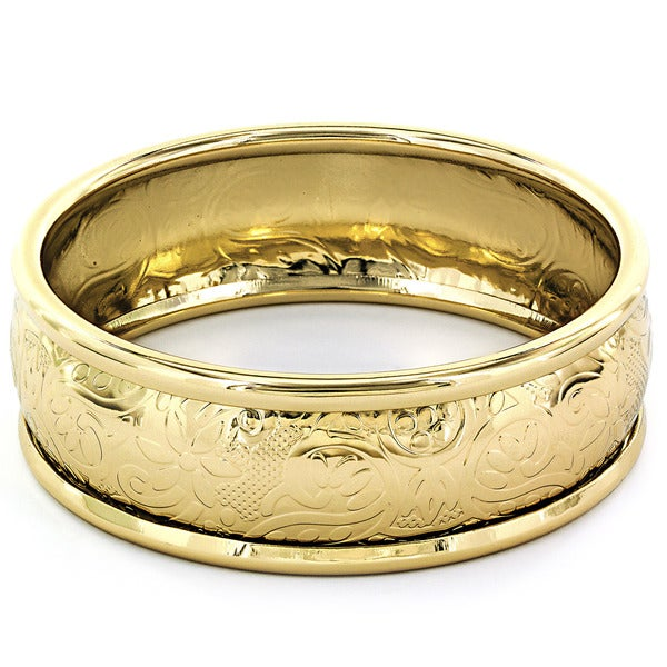 Goldtone Textured Floral Relief Bangle Bracelet