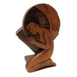 Handmade Wood Angel Coaster Set (Ghana)