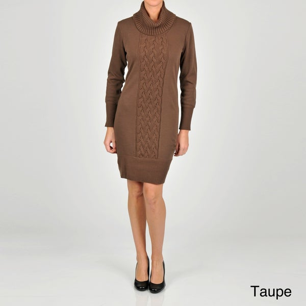 Lennie for Nina Leonard Women's Draped Turtleneck Sweater Dress