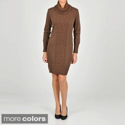 Lennie for Nina Leonard Women's Draped Turtleneck Sweater Dress