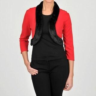 Lennie for Nina Leonard Women's Faux Fur Trimmed Knit Bolero Cardigan