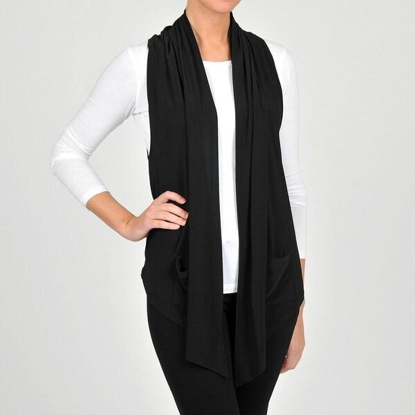 Lennie for Nina Leonard Women's Black Jersey Knit Fashion Vest
