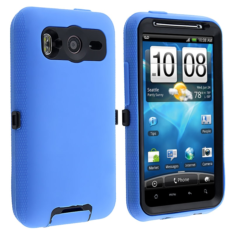 INSTEN Black/ Blue Hybrid Phone Case Cover for HTC Inspire 4G/ Desire HD
