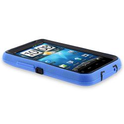Black/ Blue Hybrid Case for HTC Inspire 4G/ Desire HD