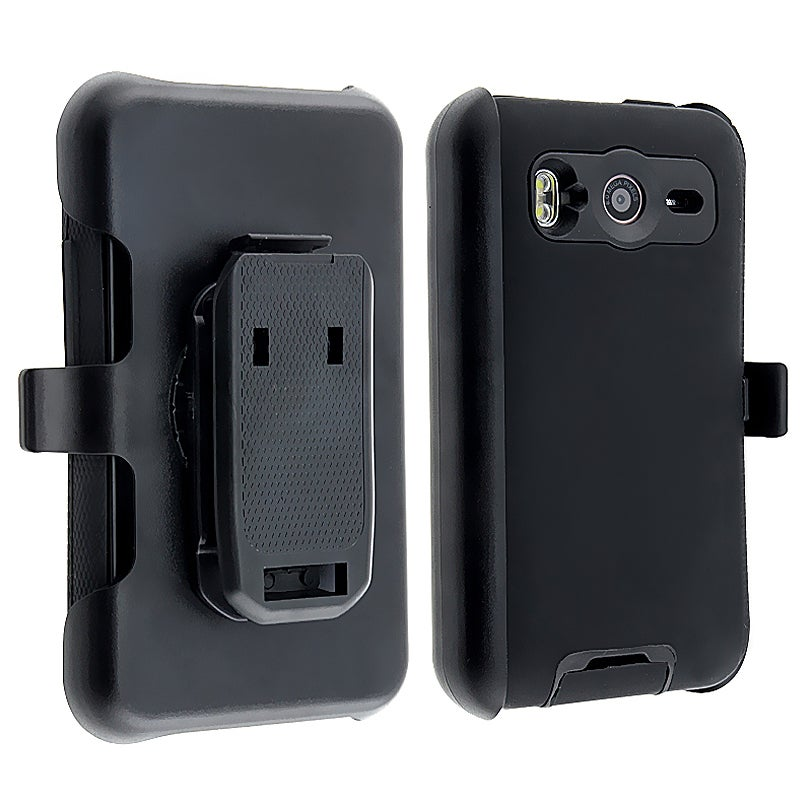 INSTEN Black Hybrid Phone Case Cover/ Holster for HTC Inspire 4G/ Desire HD