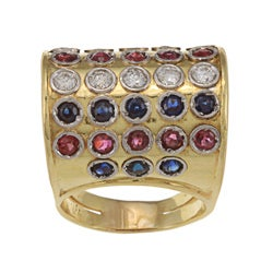 18k Gold Multi-gemstone and 3/5ct TDW Diamond Estate Ring (H-I, SI1-SI2)