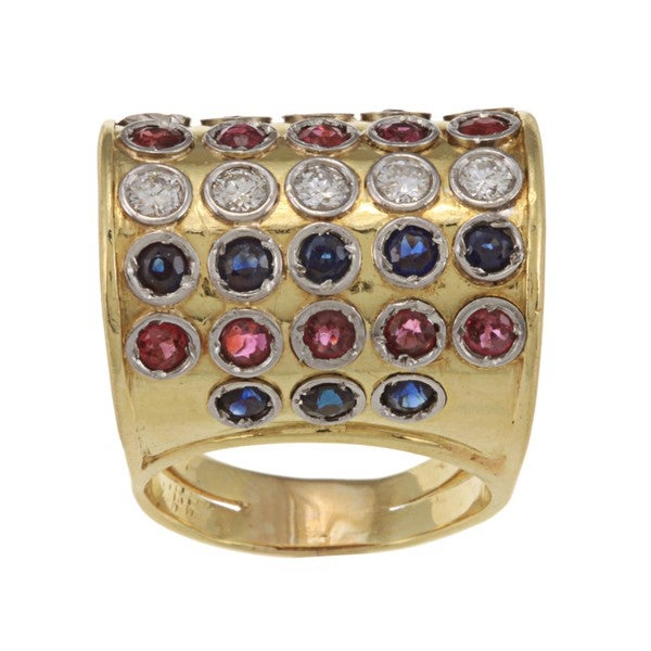Pre-owned 18k Gold Multi-gemstone and 3/5ct TDW Diamond Estate Ring (H-I, SI1-SI2)
