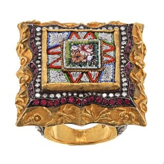 Pre-owned Ehran Gursen 24k Gold Ruby and 1ct TDW Diamond Estate Ring (J-K, VS1-VS2)