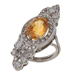 Platinum Citrine and 1ct TDW Diamond Art Deco Estate Cocktail Ring (I-J, SI1-SI2)