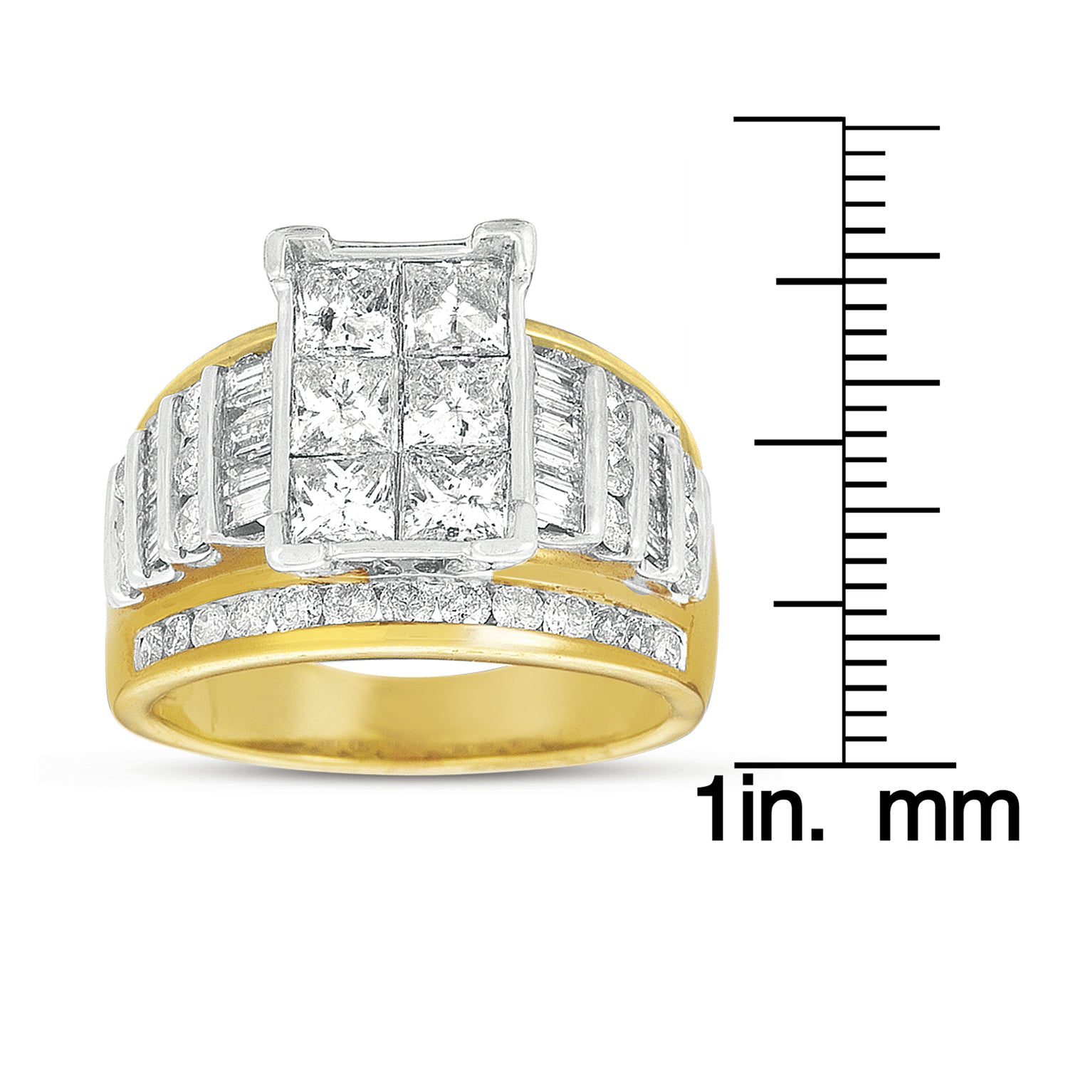 14k Gold 3ct TDW Princess Cut Pave Diamond Ring (G-H, I1)