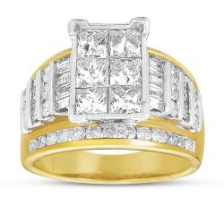 14k Gold 3ct TDW Two-Tone Princess Cut Diamond Ring (G-H, I1)