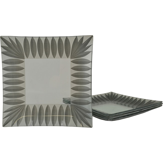 Silver Scallop Square Dinner Plates (Set of 4)