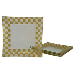Gold/ Silver Checkerboard Dinner Plates (Set of 4)